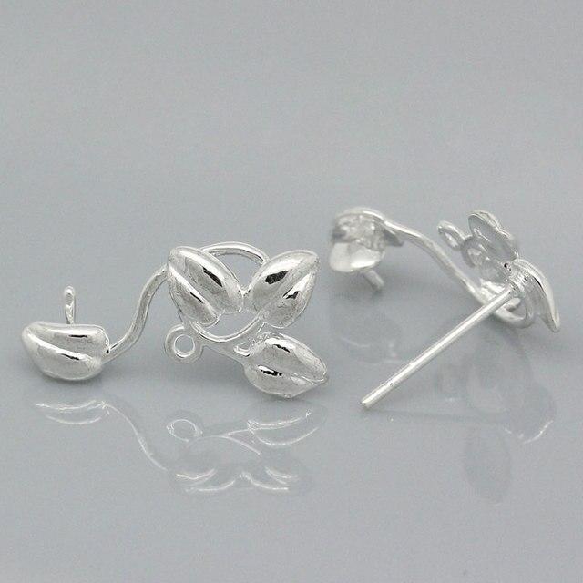 Lasperal Silver Color Leaves Stud Earrings Fit Drop Findings For Women Diy Jewelry Making Supplies