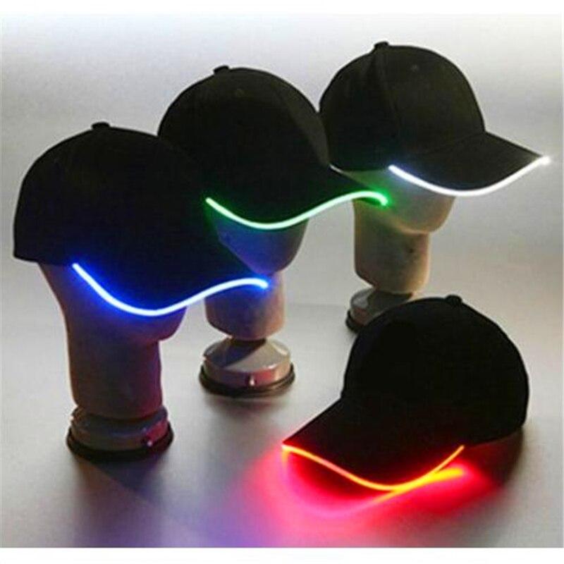 Hot Sale 12pieces LED Bright Baseball Sport Cap Black Cotton Optic Hip Hop hat Caps for