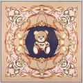 Urso dos desenhos animados Multifuncional Bandana Lenço Quadrado Lenços De Seda Das Mulheres Verão Novo