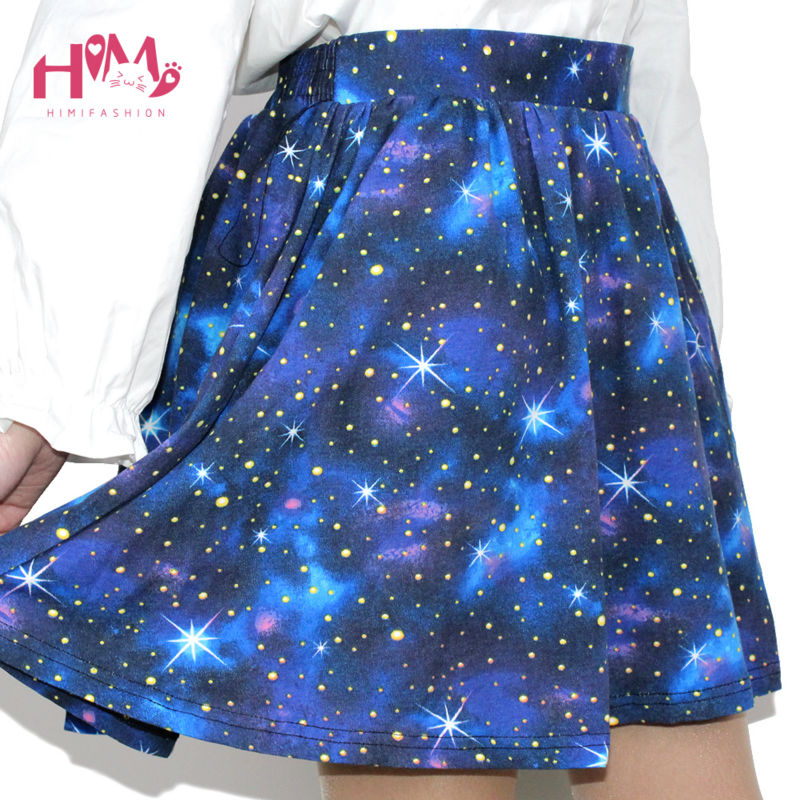 Harajuku Starry sky skirt astral print skirts summer tutu cotton skirt blue color emoji starry galaxy skirt cotton free shipping (4)