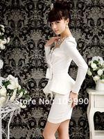 бесплатная доставка ретро суд темперамент элегантный рюшами рукава черный и белый мозаика женская платье новый b9303