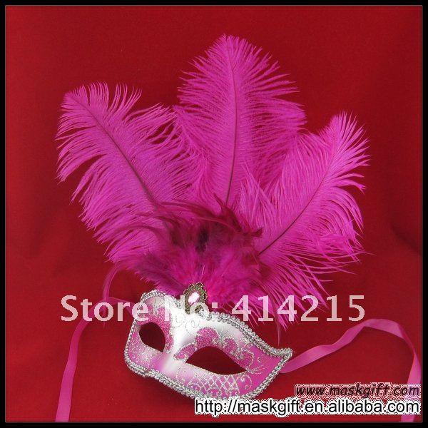 ; прекрасные туфли, украшенные ярко-розовый и серебристый маскарад перо вечерние Венецианская маска сексуальная маска(A009