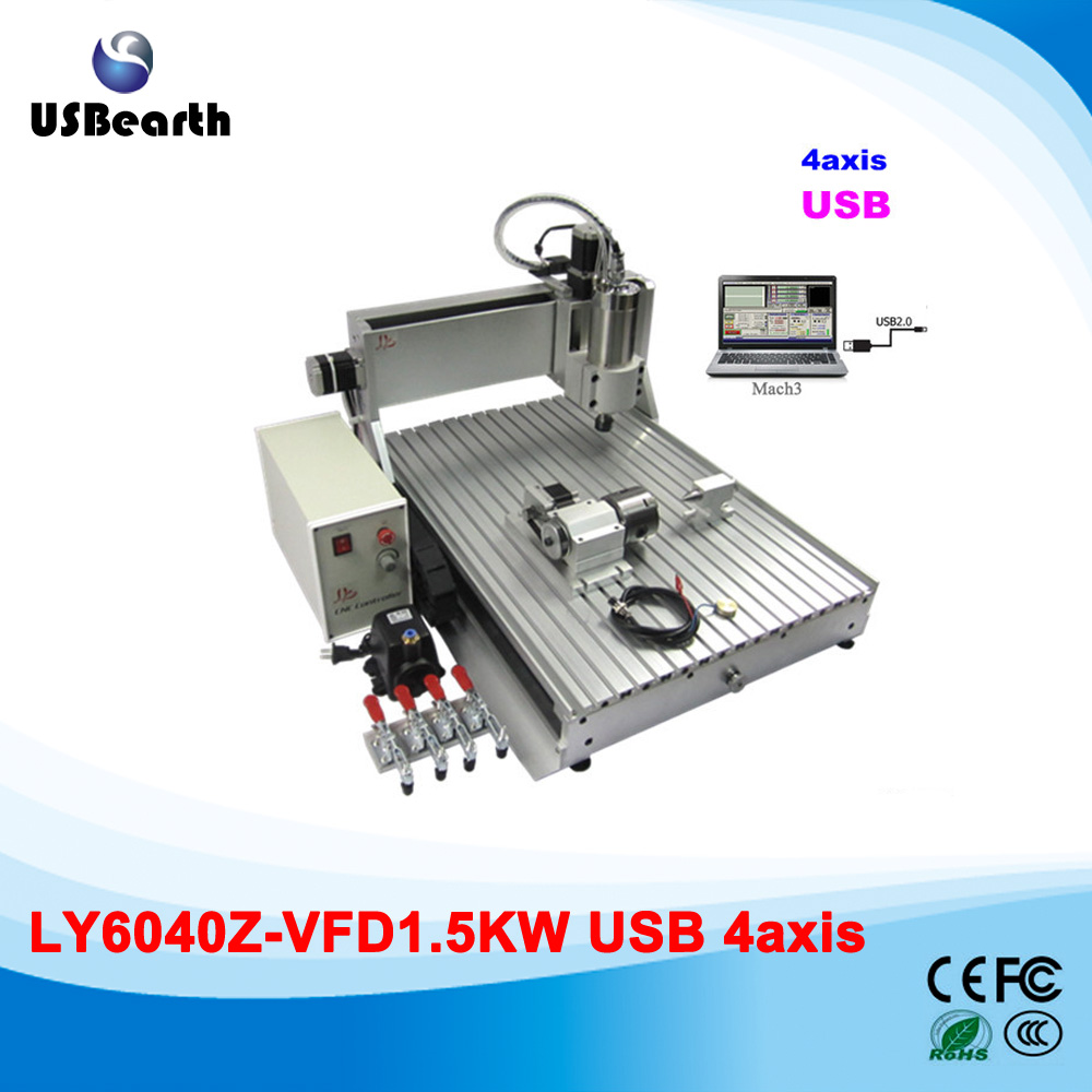 1.5kw CNC spindle 4axis cnc router 6040Z-VFD cnc cutting machine, can work for wood metal pcb, no tax to Russia russia tax free cnc woodworking carving machine 4 axis cnc router 3040 z s with limit switch 1500w spindle for aluminum