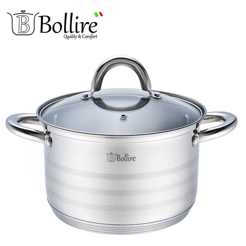 BR-2003 Casserole Bollire 3.1L 20cm Stainless steel 5-ply bottom Suitable for all types of plates 5 stainless steel scraper spatula for solder paste mixing stirring silver