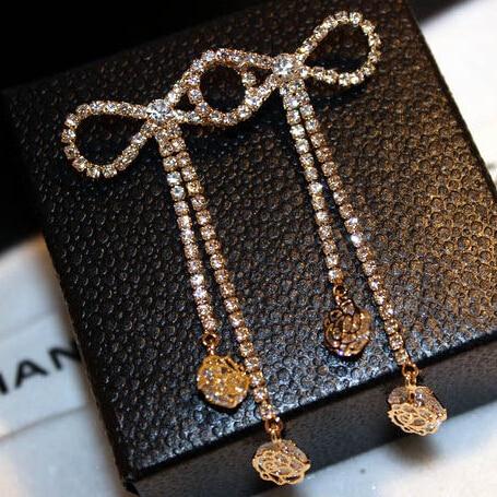 Hot Sale Fashion Lady Full Rhinestones bow knot Long Tassels Party Drop Earrings for Women dress Jewelry