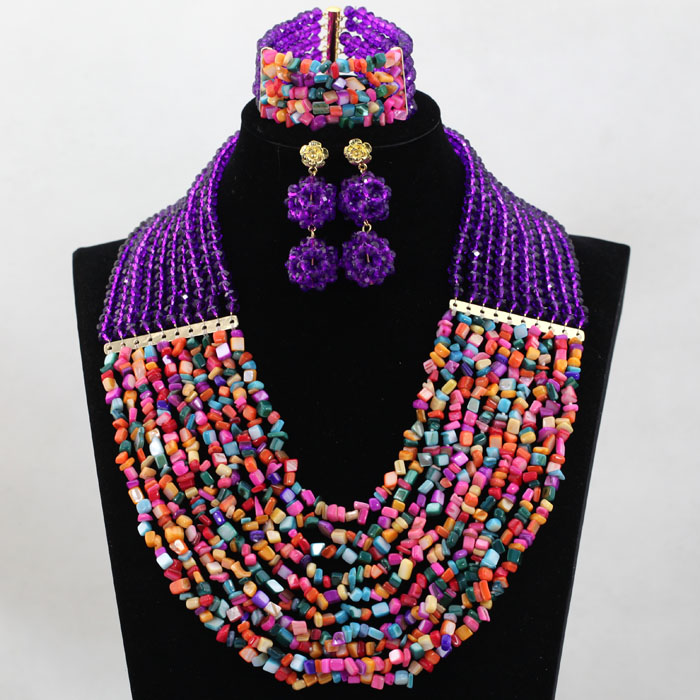 Amazing Purple Multicolor African Bridal Beads Jewelry Set Women Coustume Necklace Earrings Set Free Shipping WD025 amazing women