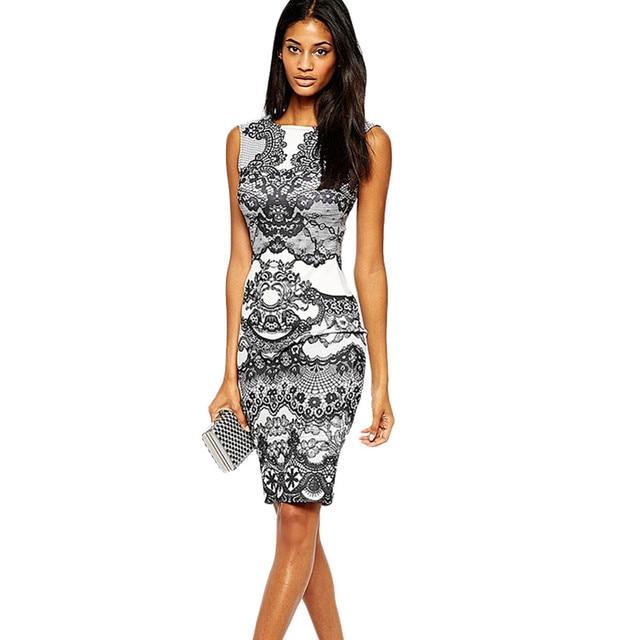Hot Ing Fashion Summer Dress Modern Flower Vintage Print Elegant Pencil Sleeveless S