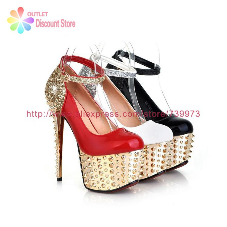 6421faabb7982 16 CM 6 inch Ultra High Heels With Rivets For Wedding Party ...