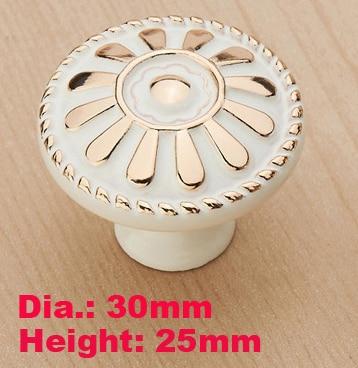 Одно отверстие 30 мм Малый Ivory White Мебель ручка сад Книги по искусству Дизайн филигрань шкафа ручки для дверей pulle