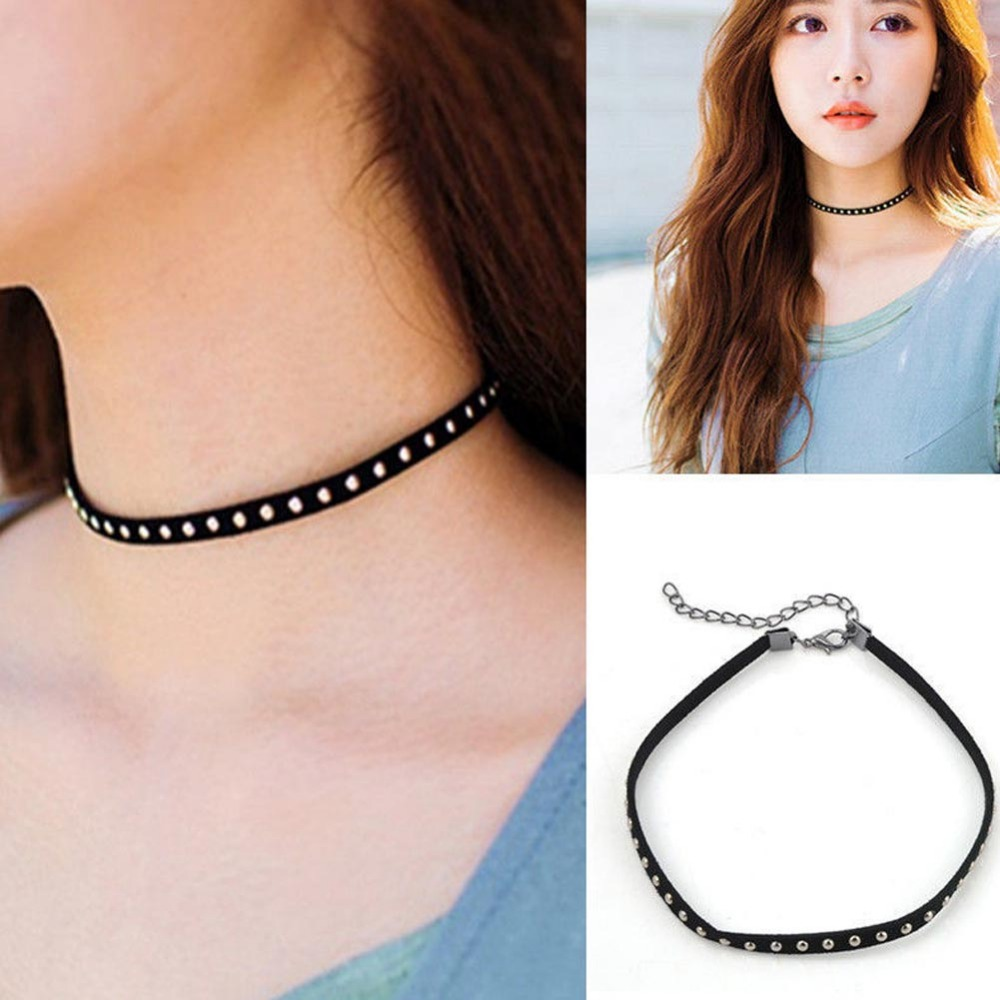Vintage Punk Rivet Soft Leather Necklace Collar Choker Necklace Jewelry For Women