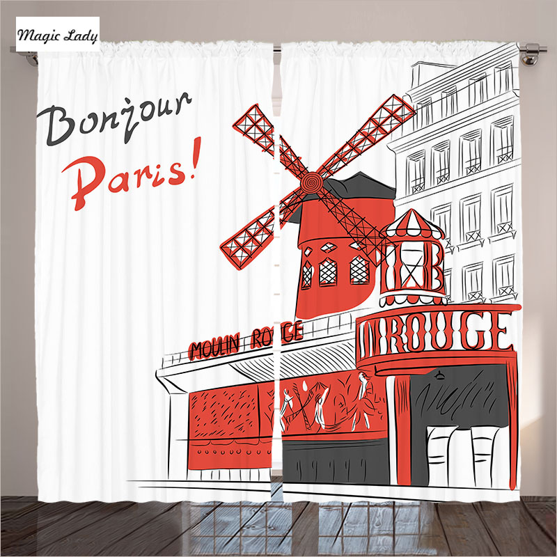 Rideaux Rouge Gris Blanc Home Decor Collection Paris Cabaret ...