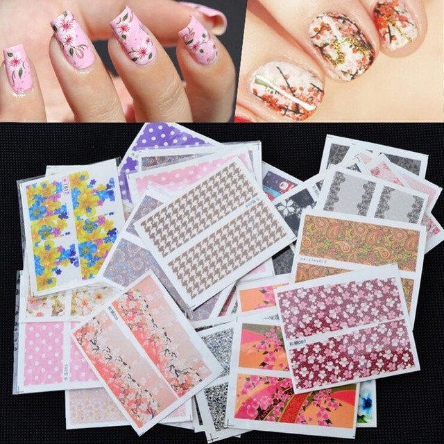 Fashion fancy manicure 50 sheets 3d design tip nail art sticker color randomly delivered nail decal