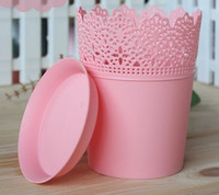 бесплатная доставка 6 шт./лот кашпо милый фиолетовый ярко розовый, зеленый, белый, декоративный сад искусственный мини-пластиковой цветочный горшок / рабочего