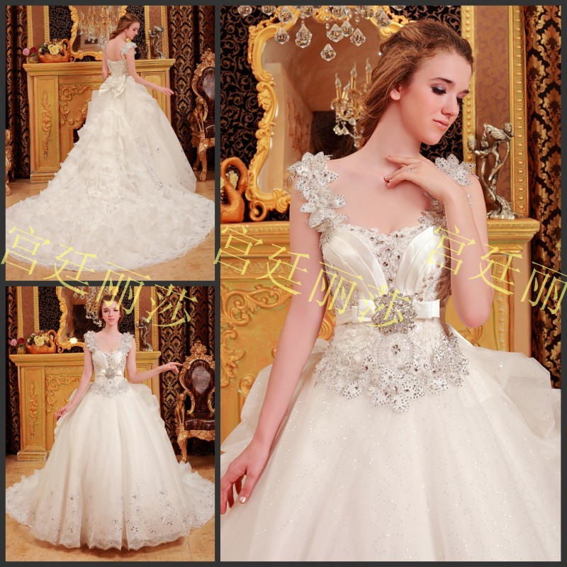 Real Sample 2017 New Arrival Luxury Ball Gown Long Train Wedding ...