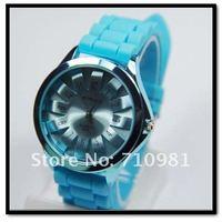 3шт / лот красочные гель кремния цветок часы, женщины платье часы конусов, НАО-1088-4