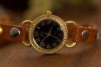 старинные кожаный ремешок ювелирных изделий с бриллиантами браслет мода женщины наручные часы бесплатная доставка - ap029