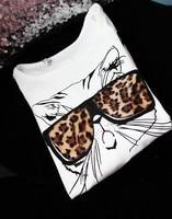 япония корея мода Saw очках кошка котенок с длинным рукавом футболку топ белый