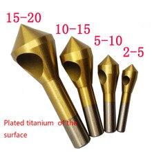 4 шт. набор титановая Зенковка для снятия заусенцев сверло конусное отверстие резак сталь/алюминий потайная головка инструменты для снятия фаски 2-5-10-15-20