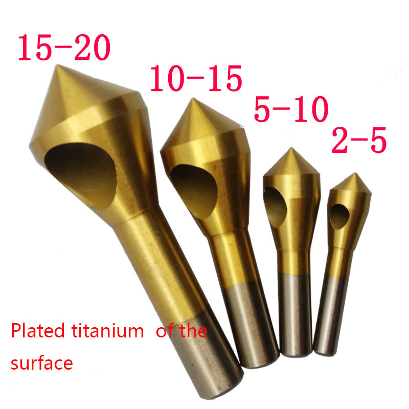 4pcs Set Titanium Countersink Deburring Drill Taper Hole Cutter Steel/Aluminum Countersunk Head Chamfering Tools 2-5-10-15-20