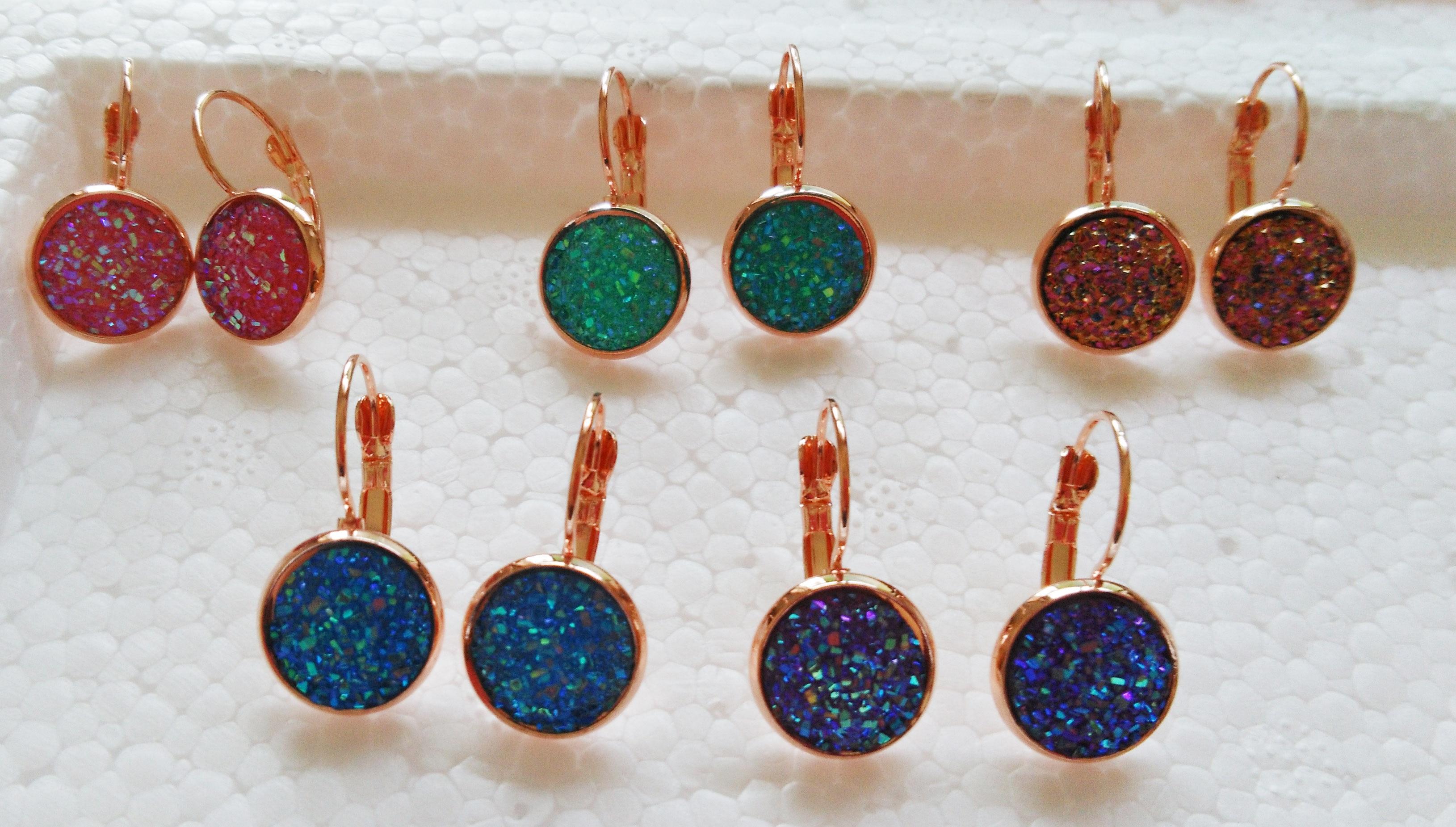 1pair Faux Druzy French Hook Earrings in Rose Gold Setting ,fashion Druzy Earrings, Faux Druzy Stud Earrings For Wedding Gifts