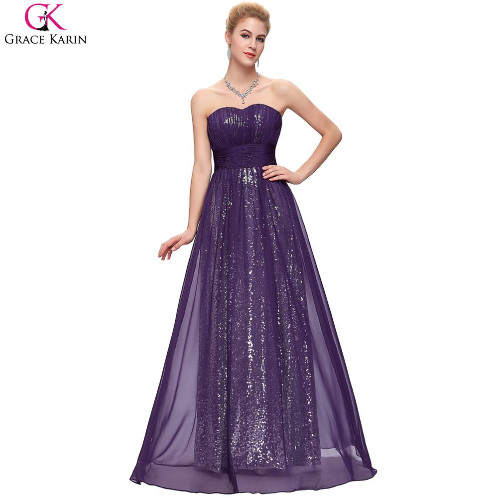 Sparkly bridesmaid dresses purple grace karin long chiffon for Navy dresses for weddings