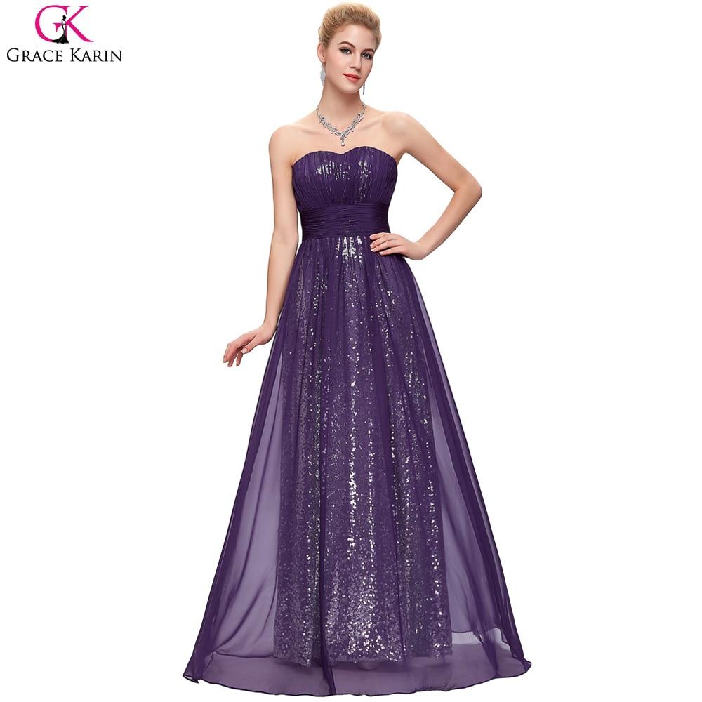 Sparkly vestidos de dama de honor púrpura grace karin gasa larga ...