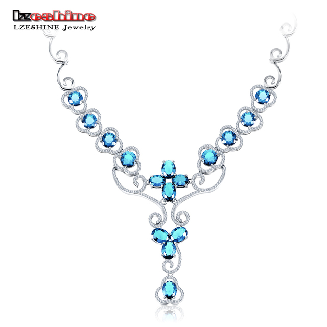 LZESHINE Fashion Jewelry Necklace Silver Color Micro Inlay 3.0ct Created Diamond Sweater Necklace & Pendant Women Luxury Wedding