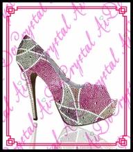 Aidocrystal custom high quality 3cm platforn high heels elegant pink and white fish mouth high heel shoes women pumps