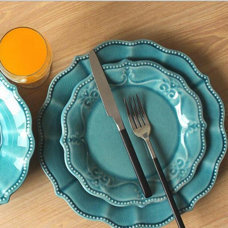 Dinner plate dinnerware sets Ceramic dishes plates fruit tray Ceramic relief ceramic plate for steak