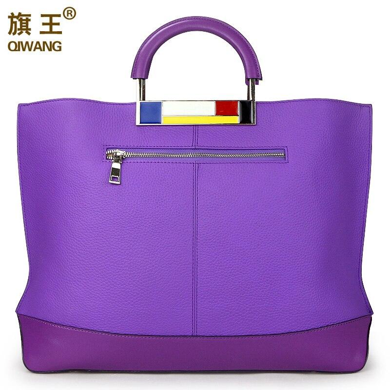 Qiwang Large Capacity Tote Bags Purple European Brand Handbags Designer Real Leather Women Handbag Roomy Laptop Bag Purse Worthy-in Top-Handle Bags from Luggage & Bags    2