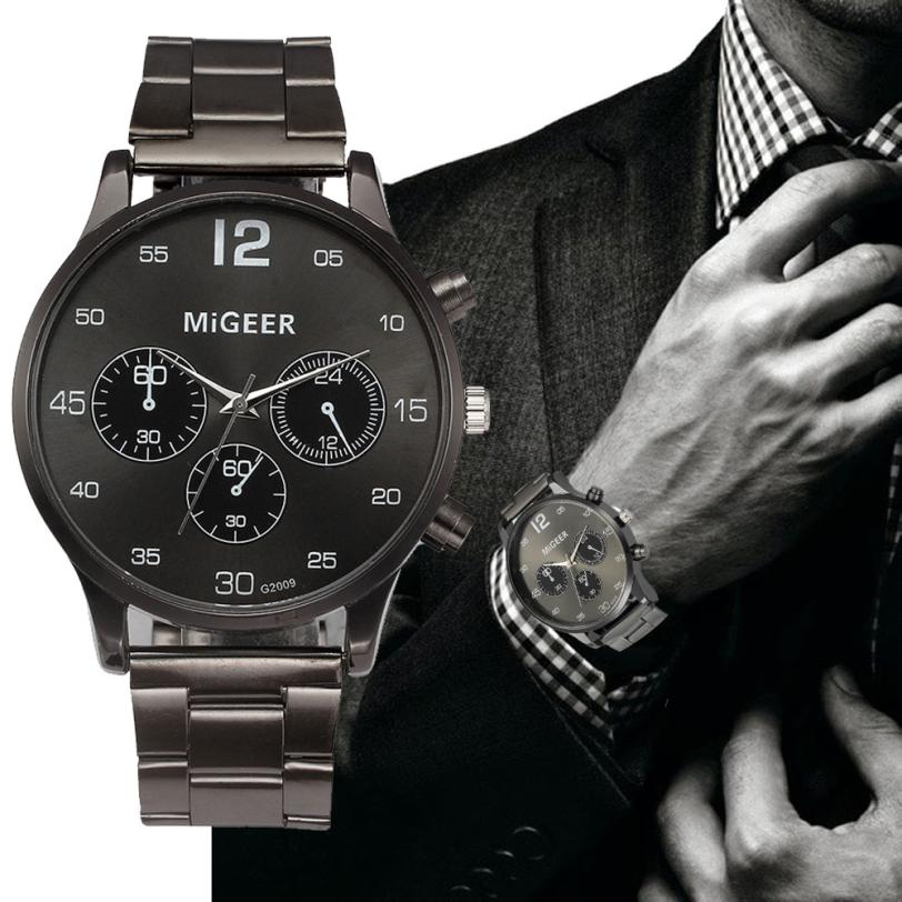 MIGEER Fashion Men's Watch Luxury Stainless Steel Band Alloy Dial Analog Quartz Wrist Watches Men Dress Watches reloj hombre fashion noctilucent wrist watch modern desgin sport men circle round dial quartz watches stainless steel band strap males reloj