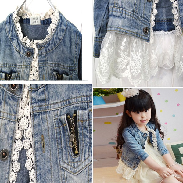 Girls Jean Jackets Kids Lace Coat Long Sleeve Button Denim Jackets For Girls 2-7Y 1