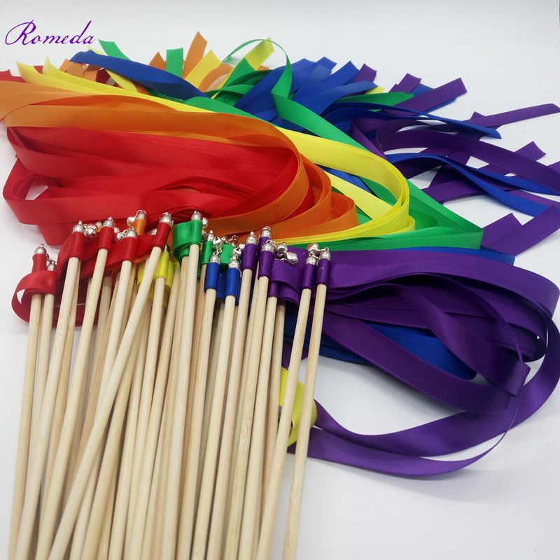 FREE SHIPPING--Style A Rainbow Ribbon Wedding Wands With Silver Bell Wedding Ribbon Stick,ribbon Twirling Streamers
