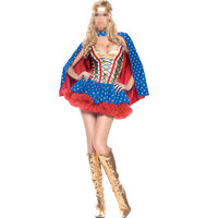 2016 Ladies Wonder Woman Superhero Costume Super Girl Halloween Hens Fancy Dress Blue Supermen Costume