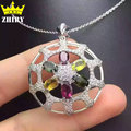 Women Natural Tourmaline Gems Pendant Necklace Genuine 925 Sterling Silver Precious Stone Fine Jewelry