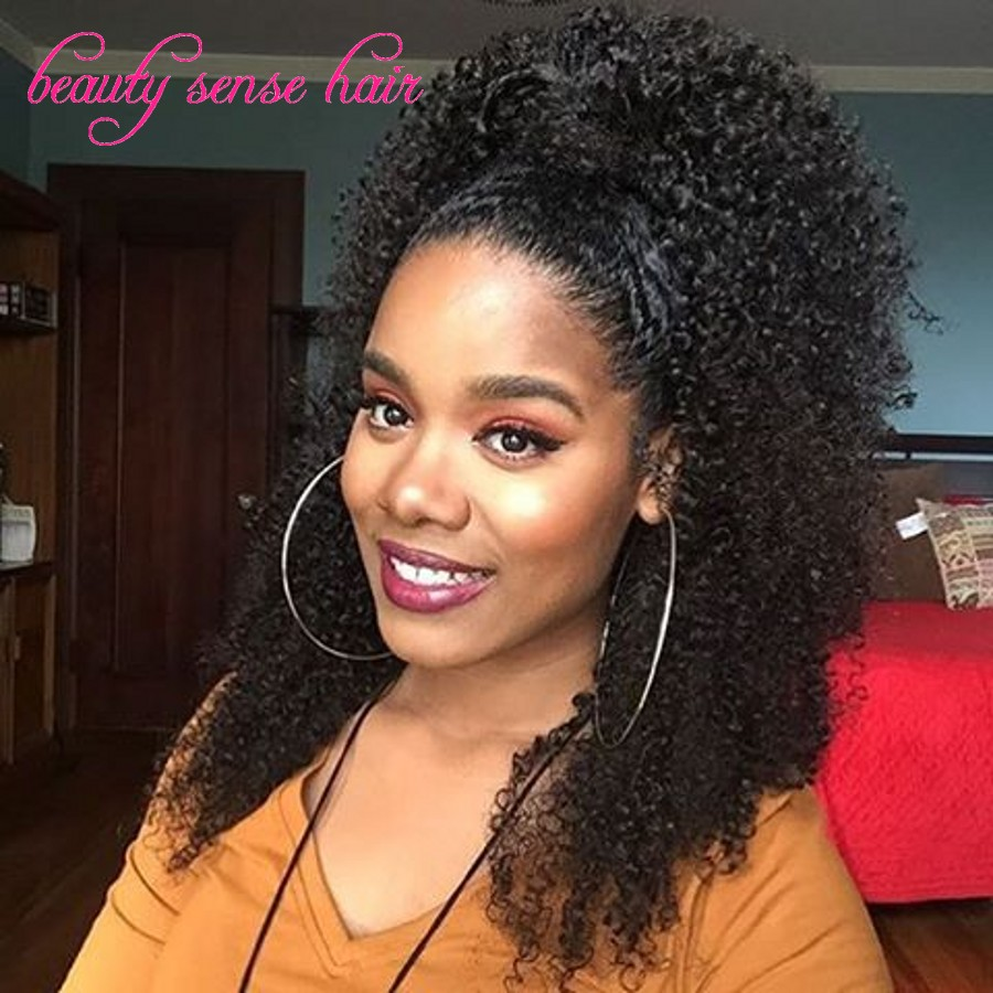 Popular Style High Ponytail Full Lace Wigs 150 Density Kinky Curly