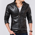 Куртки Hombre 2017 Весенняя Мода Причинная Куртка Мужчины Блузон Весте Cuir Homme Стенд Воротник jaqueta де couro Мужская Куртка Пальто