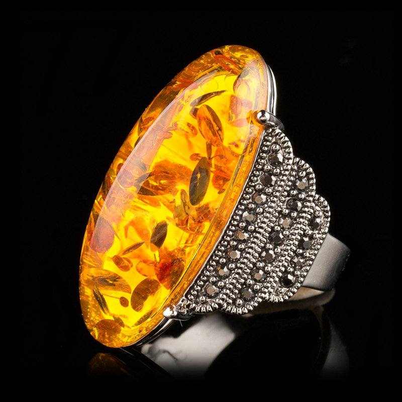 Jenia Antique Gold Color Marcasite Yellow Oval Stone Claws Ring for Women Rhinestone Jewelry XR341
