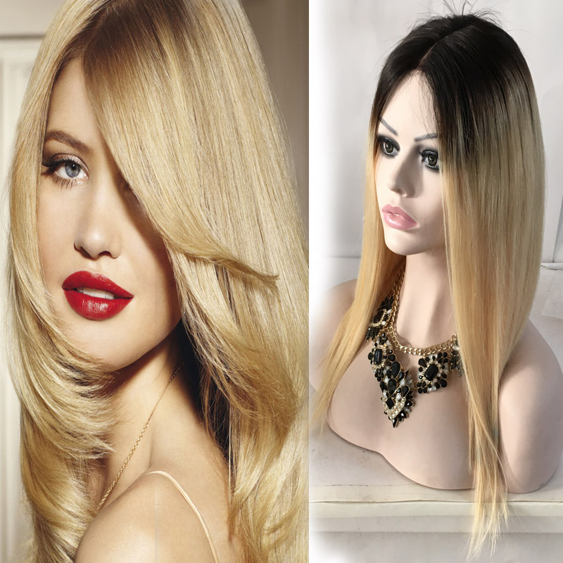 Blonde Front Lace Wig Brazilian Virgin Hair Nature Hairline With Baby Hair Straight Ombre 2 Tone 1B/ Blonde 613 Full Lace Wig