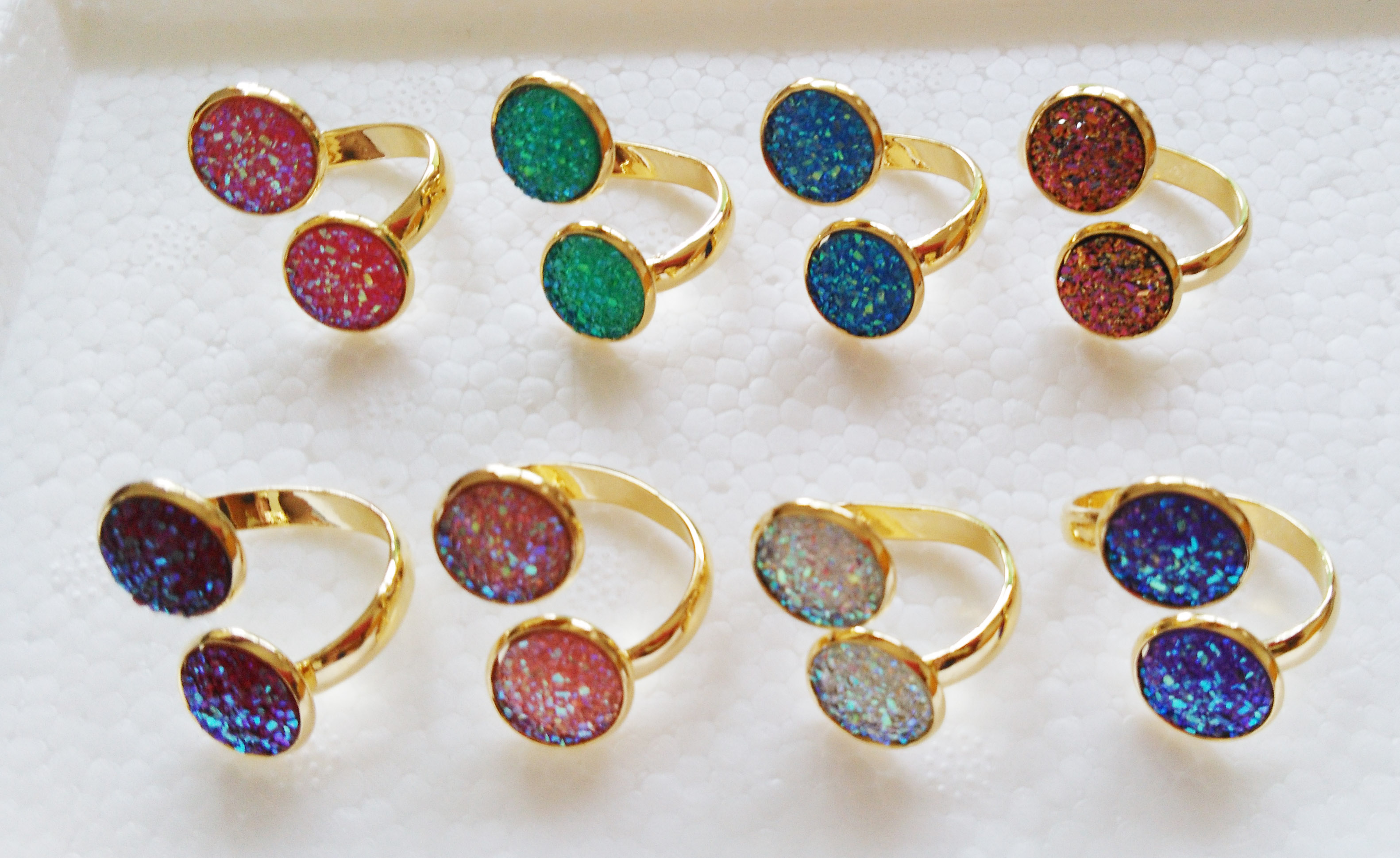 Druzy Quartz Top Quality Gemstone Ring Sparkle Color Stone Ring 925 Sterling Solid Silver Ring-Gift Item Ring-Fancy Rough Ring Druzy Ring