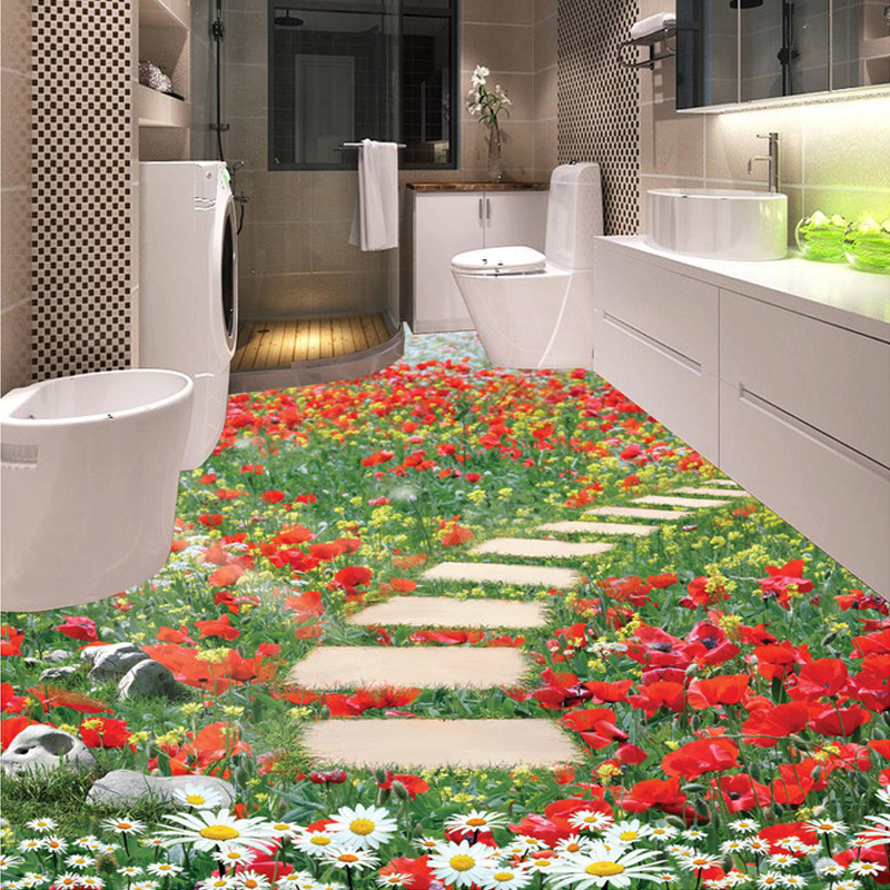 Custom 3D Mural Wallpaper Flower Small Road Bathroom Kitchen Bedroom Floor Sticker Decor PVC Self-adhesive Wallpaper Painting  custom 3d floor painting wallpaper stone steps sunshine pvc self adhesive living room bedroom bathroom floor sticker wall mural