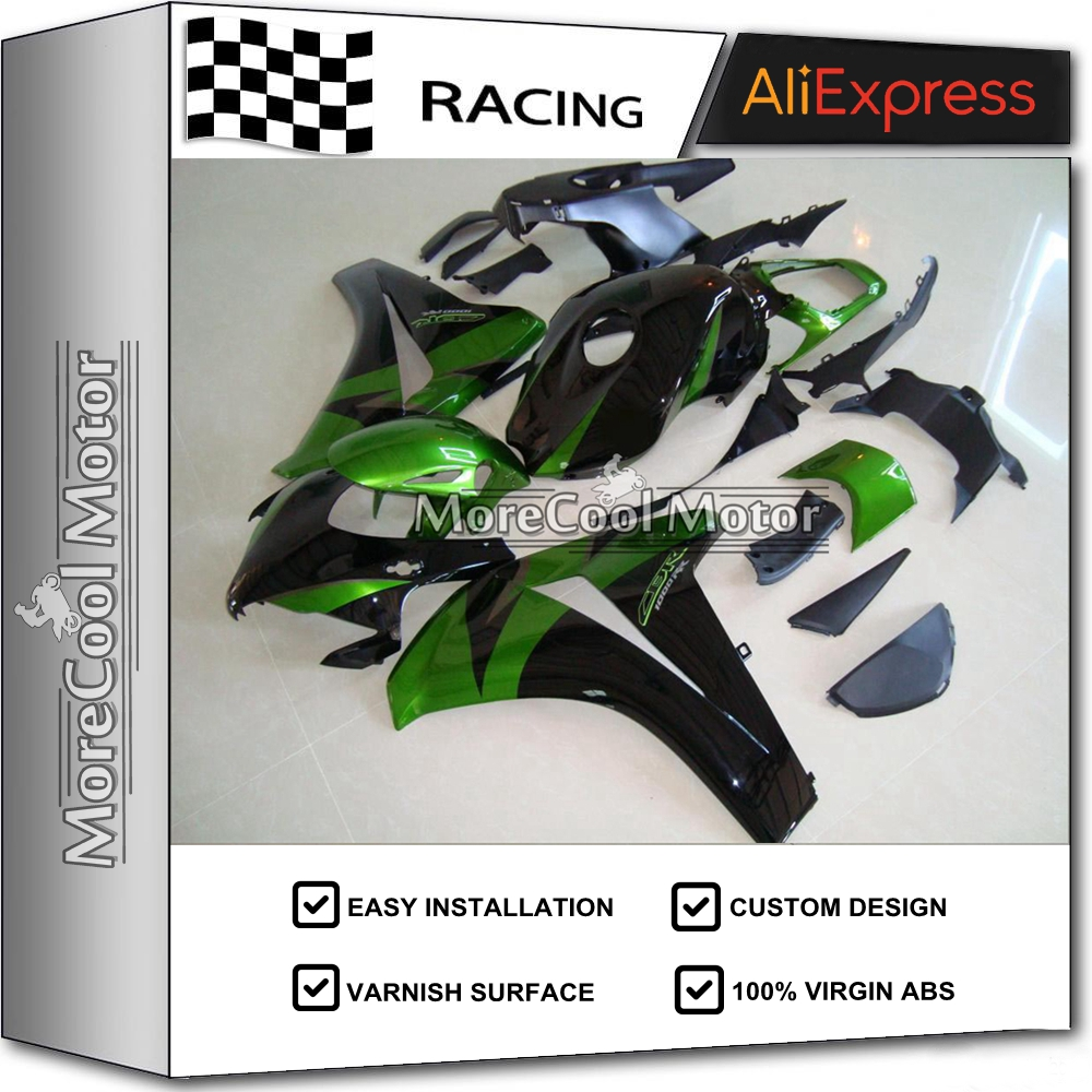 CBR1000RR 08 09 10 11  Injection Fairing Set For Honda CBR 1000 RR 2008 2009 2010 2011 Motorbike Cowling Green Black Hot Selling arashi motorcycle radiator grille protective cover grill guard protector for 2008 2009 2010 2011 honda cbr1000rr cbr 1000 rr