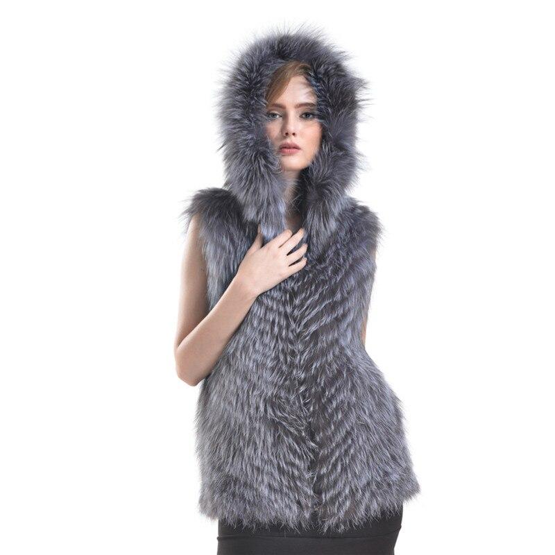 594cfc4578d Plus Size S 6XL 2016 New Women Real Fur Vest Jacket Genuine Silver Fox Fur  Vest Hooded Fox fur Vest Jackets LH342-in Fur   Faux Fur from Women s  Clothing   ...