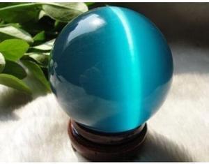 Cuarzo asiático Ojo de Gato de cristal azul Esfera de bola 50MM + soporte envío gratis YL-J0429