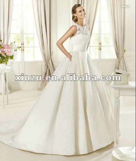 Sleeveless Lace Top Satin Underneath A Line Beautiful Bridal Wedding Dress 2012 Color Chart
