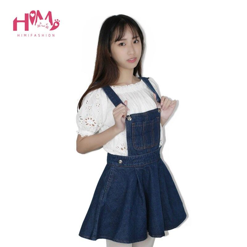 Vivi Japan Sstrap School Denim Dress For Ladies Dark Blue Removable Summer Detachable Student Overalls Dress Women Kawaii Cloth 9