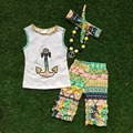 2016 July 4th Summer outfit girls clothing popular kids anchor clothes Aztec capri sleeveless matching necklace and headband set