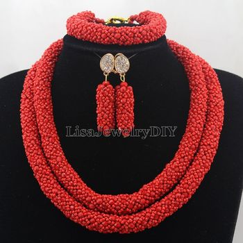 African Jewelry Sets Nigerian Beads Wedding Jewelry Set Bridal Statement Jewelry Set Womens Jewellery Set HD7411 фото
