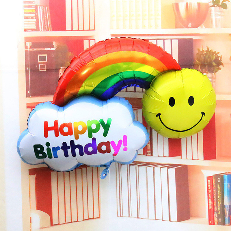 a29d489ed Hoja Globos doble cara feliz cumpleaños baby shower decoración gran tamaño  sonrisa Cara Arco Iris globos bolas niños Juguetes