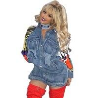 [Pndodo] 2017 terug graffiti patchwork lange denim jasje ripped pockets vrouwen basic jassen nieuwe mode clothing poncho feminino